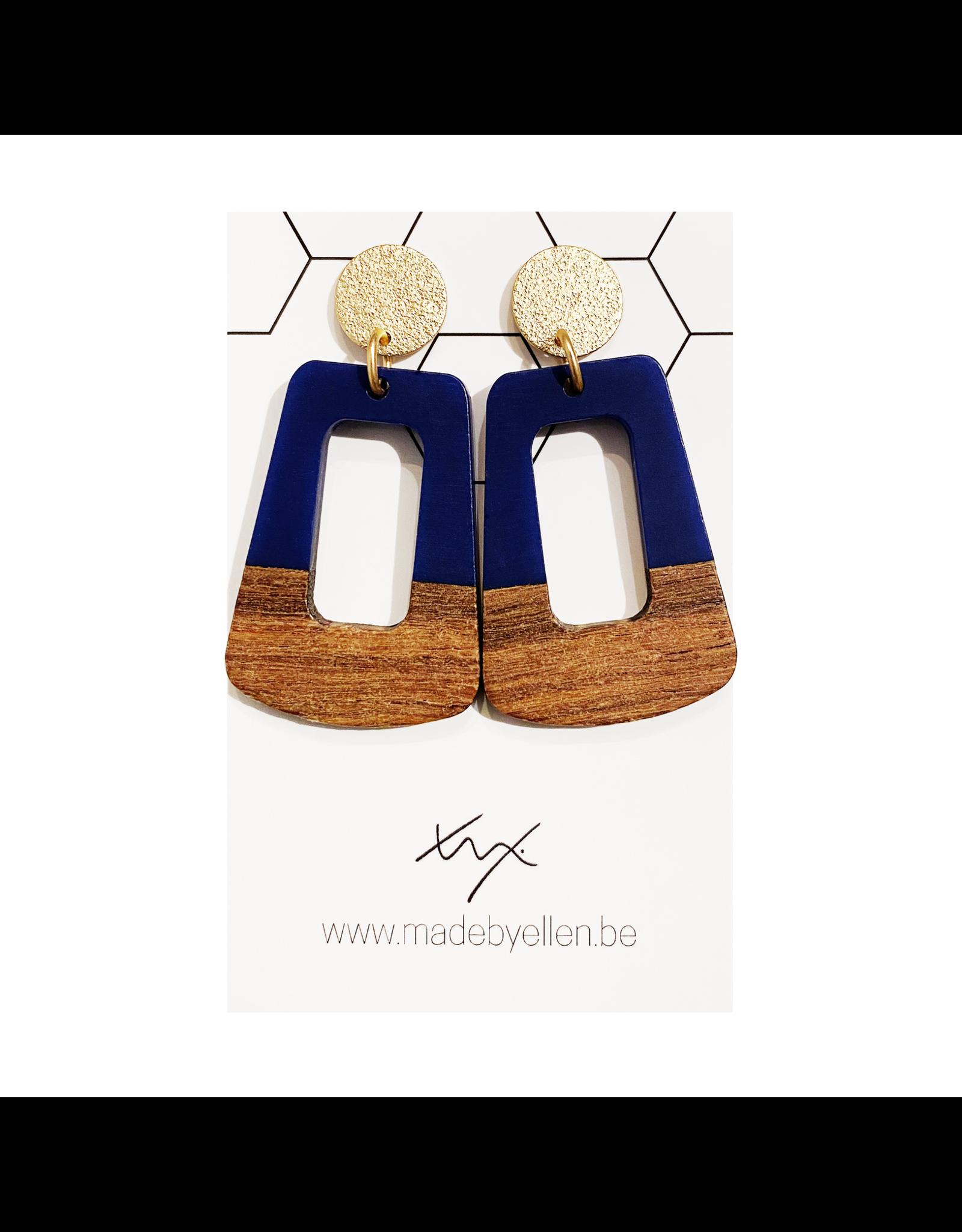 oorbEllen hars&hout trapezium open donkerblauw