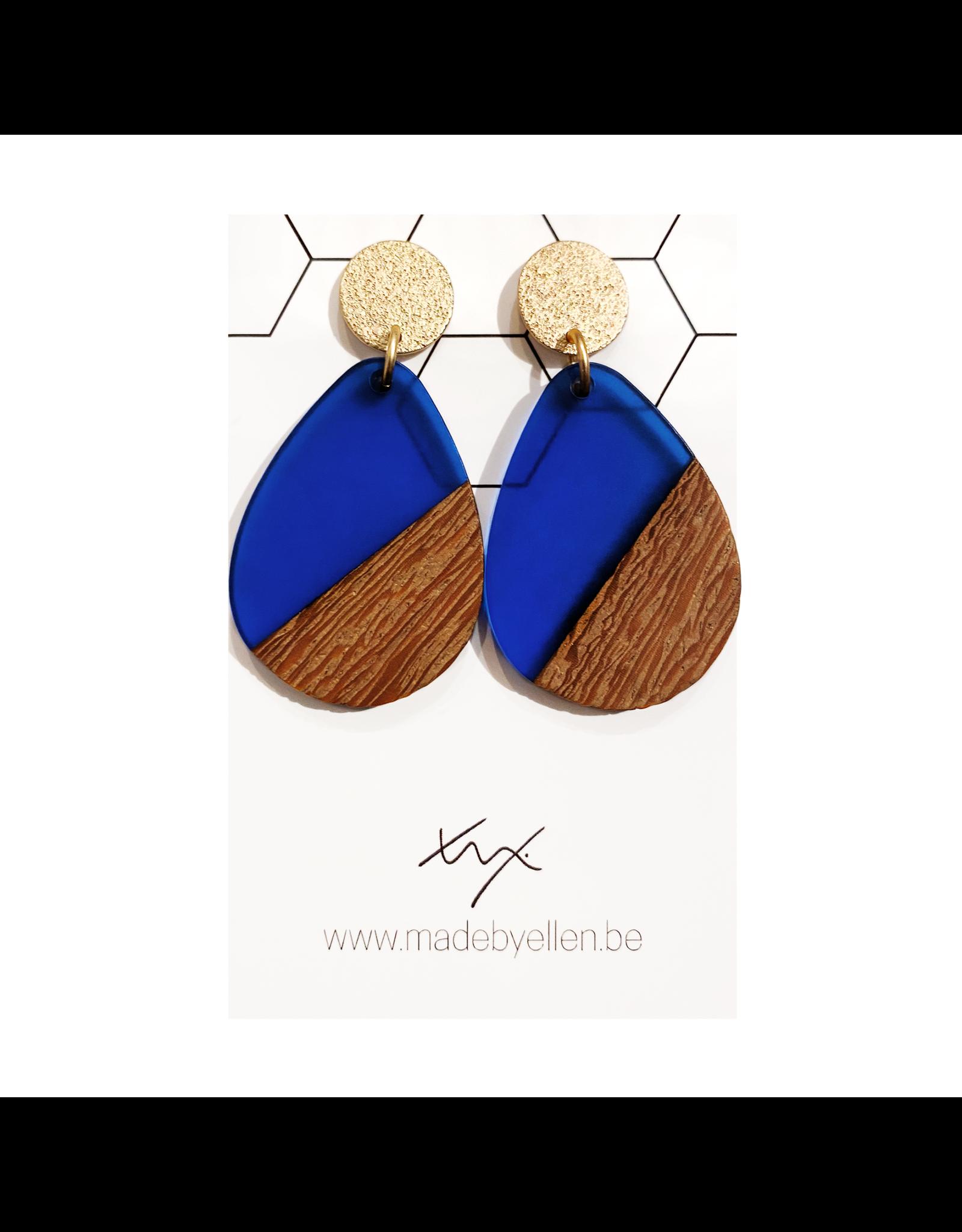 oorbEllen hars&hout druppel transparant blauw