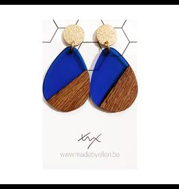oorbEllen hars&hout druppel XL transparant blauw