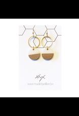 oorbEllen hars&hout dubbele cirkels wit