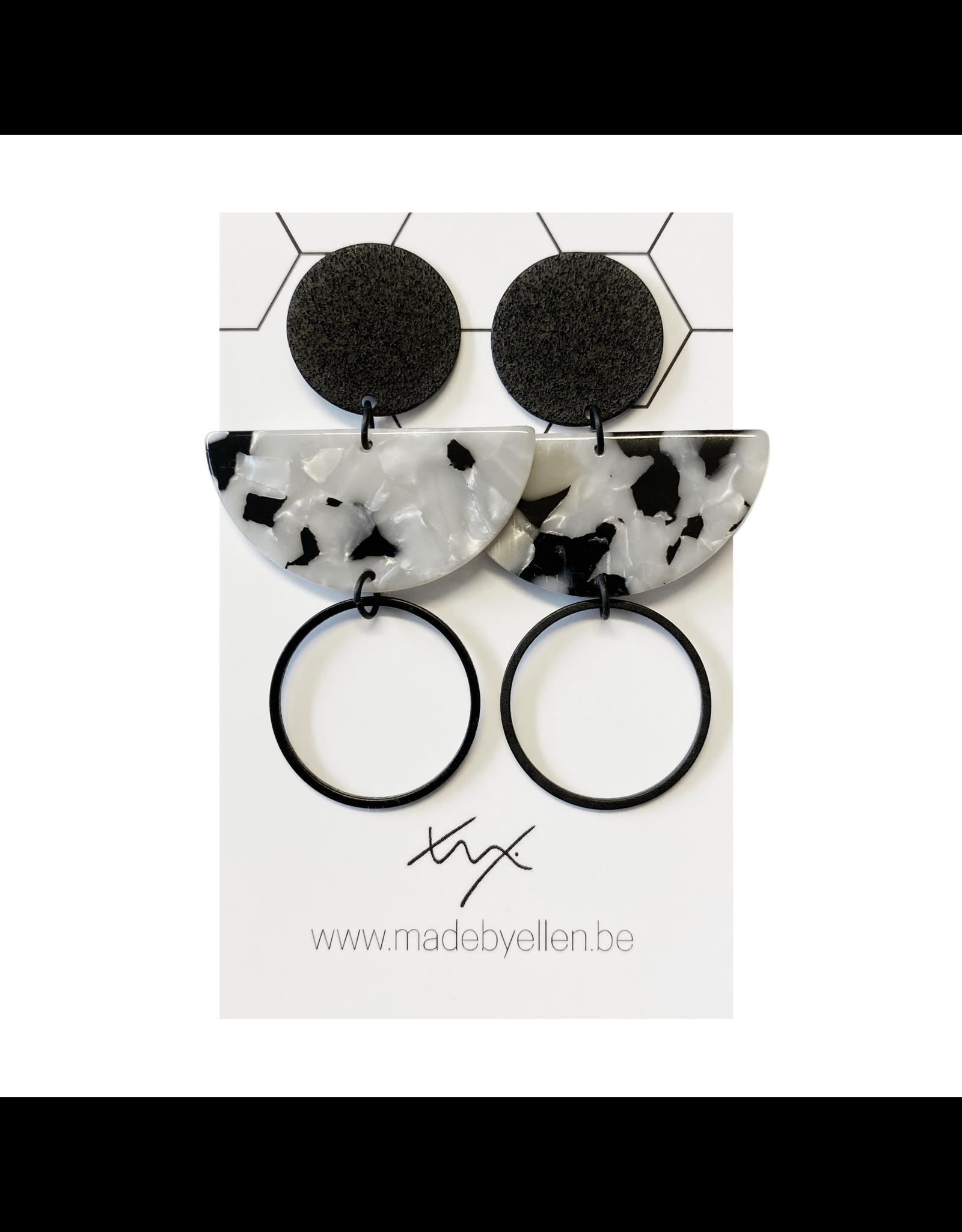 oorbEllen acryl have cirkel groot zwart/wit