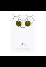 oorbEllen acryl zeshoekje groen