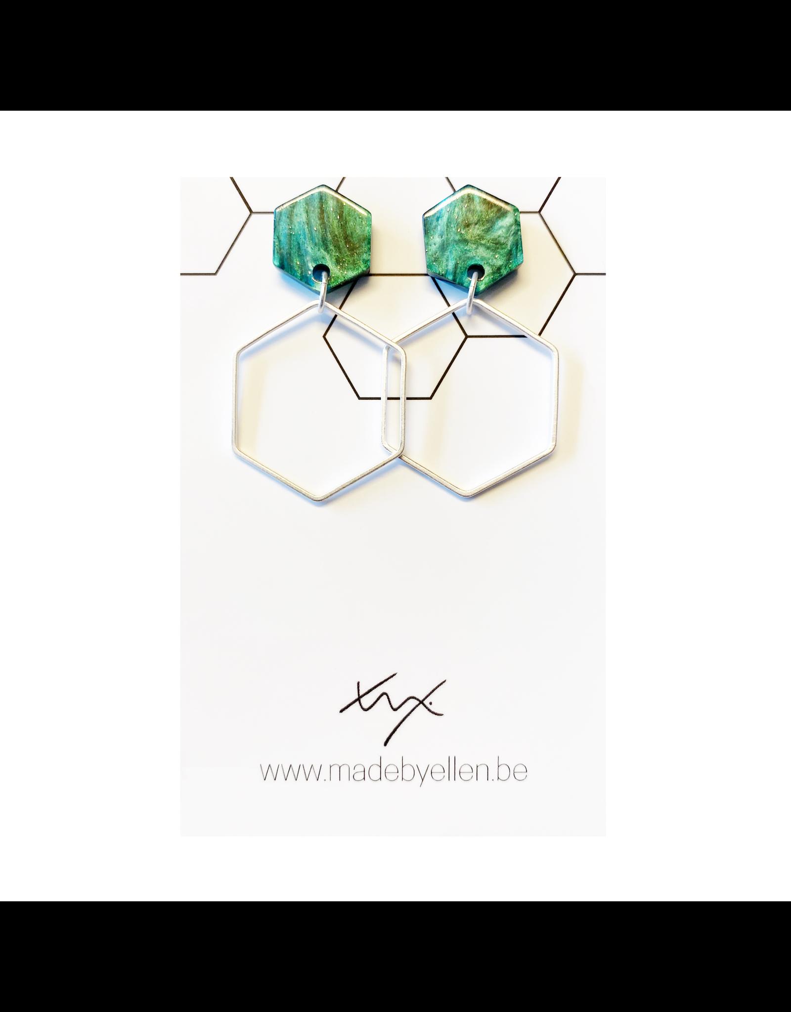 oorbEllen acryl cirkel 12mm zeshoek groot turquoise glitter