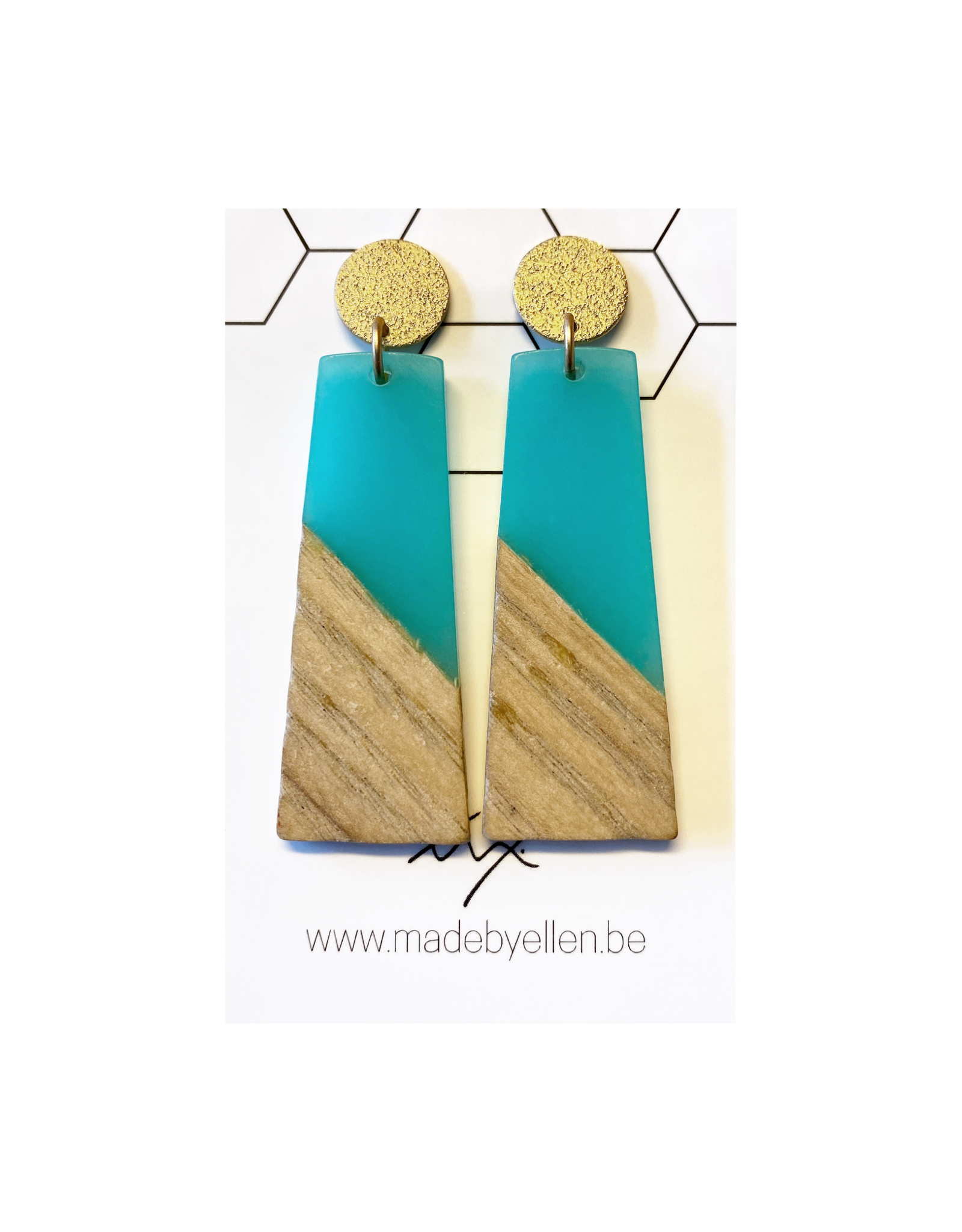 oorbEllen hars&hout trapezium turquoise
