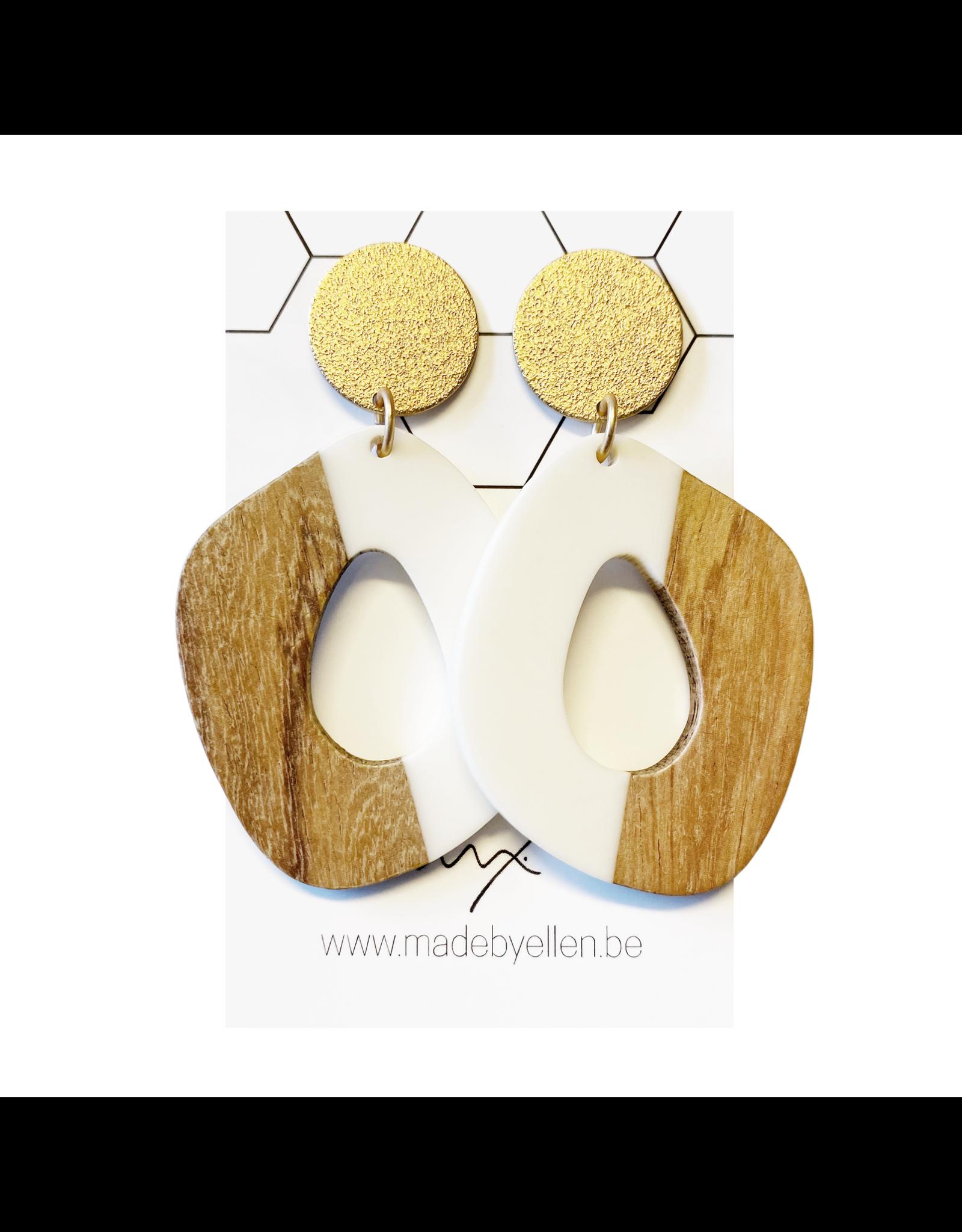 oorbEllen hars&hout XL wit