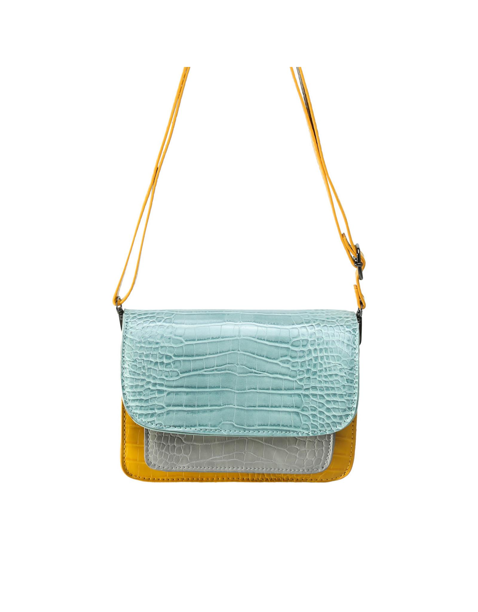 Handtas snake pastel geel/blauw/grijs