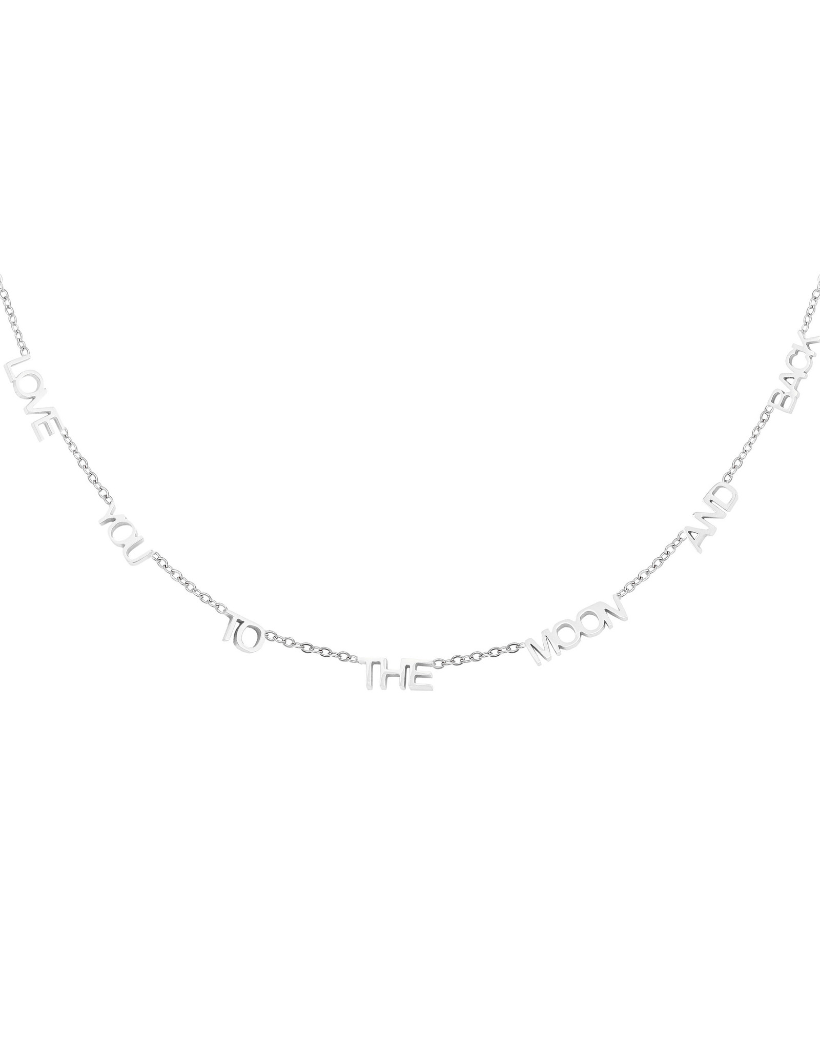 Ketting RVS Love you to the moon and back zilverkleurig