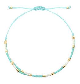 Armbandje fijn dubbel turquoise/wit