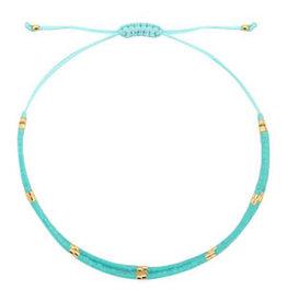 Armbandje fijn dubbel turquoise