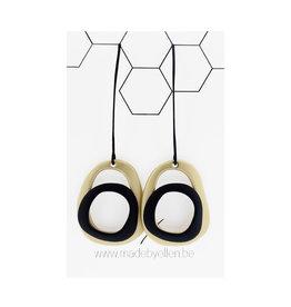 Mix&match ovalen goud/zwart lange haak zwart