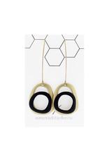 Mix&match ovalen goud/zwart lange haak goud