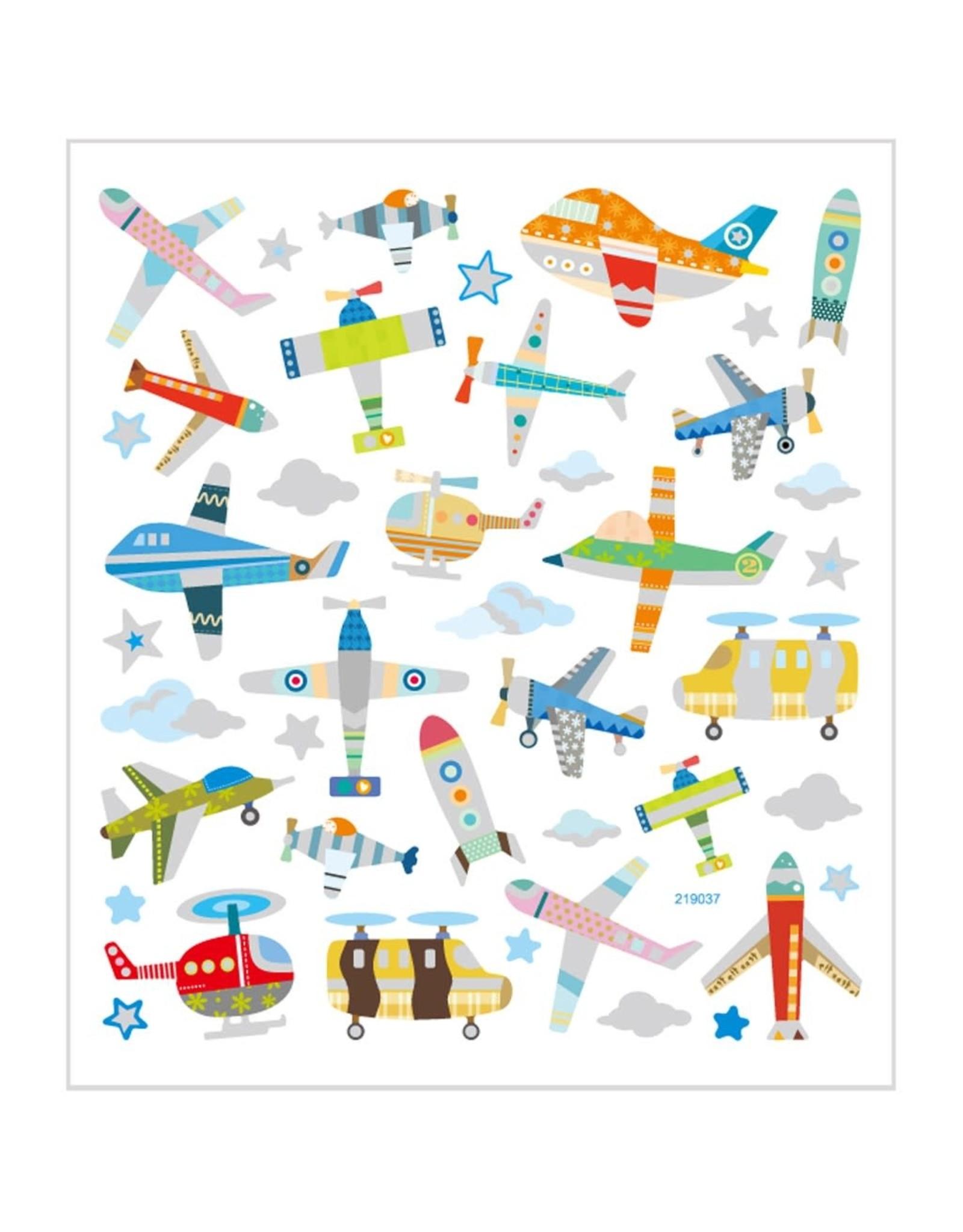 Stickervel glitter vliegtuig