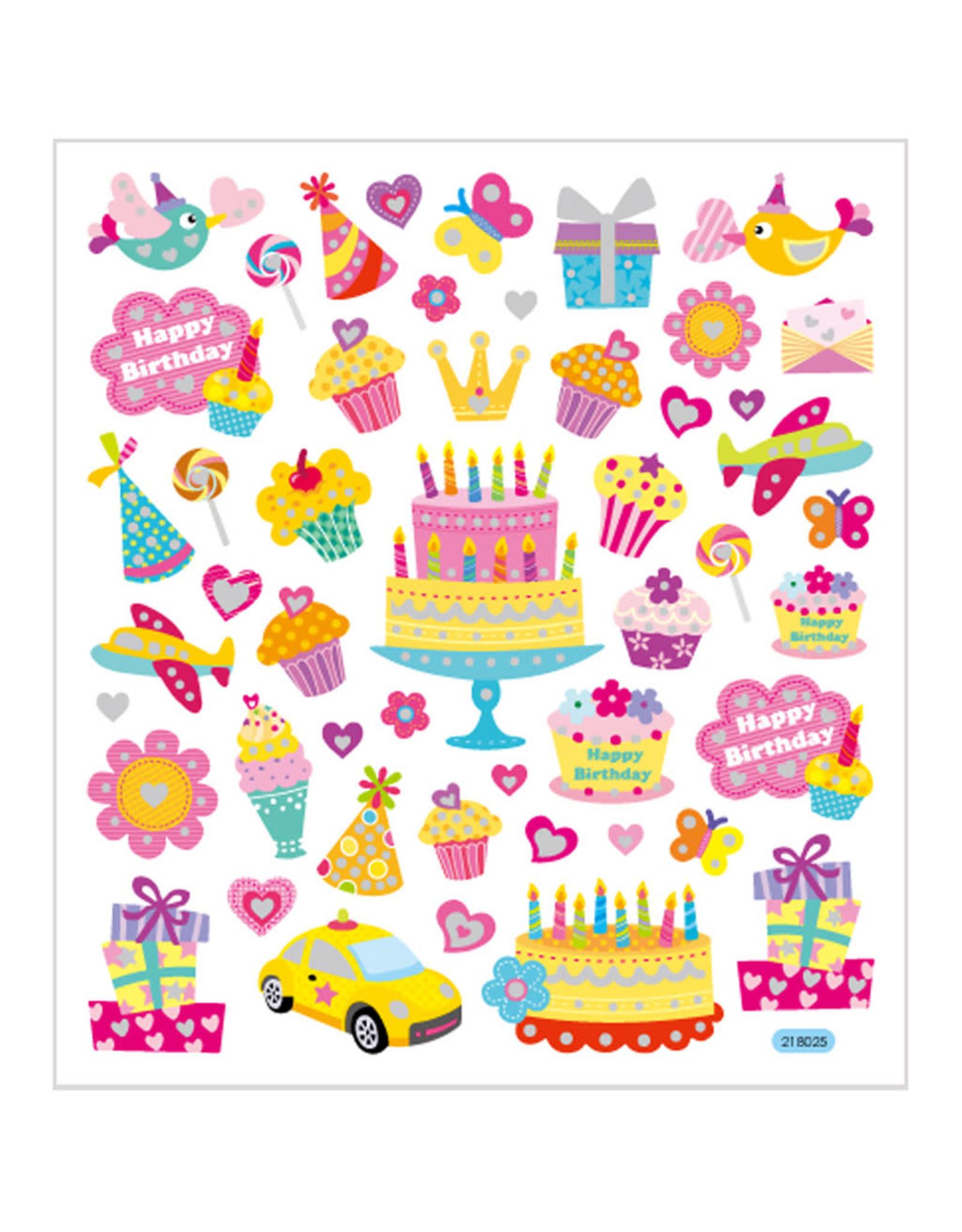 Stickervel glitter verjaardag