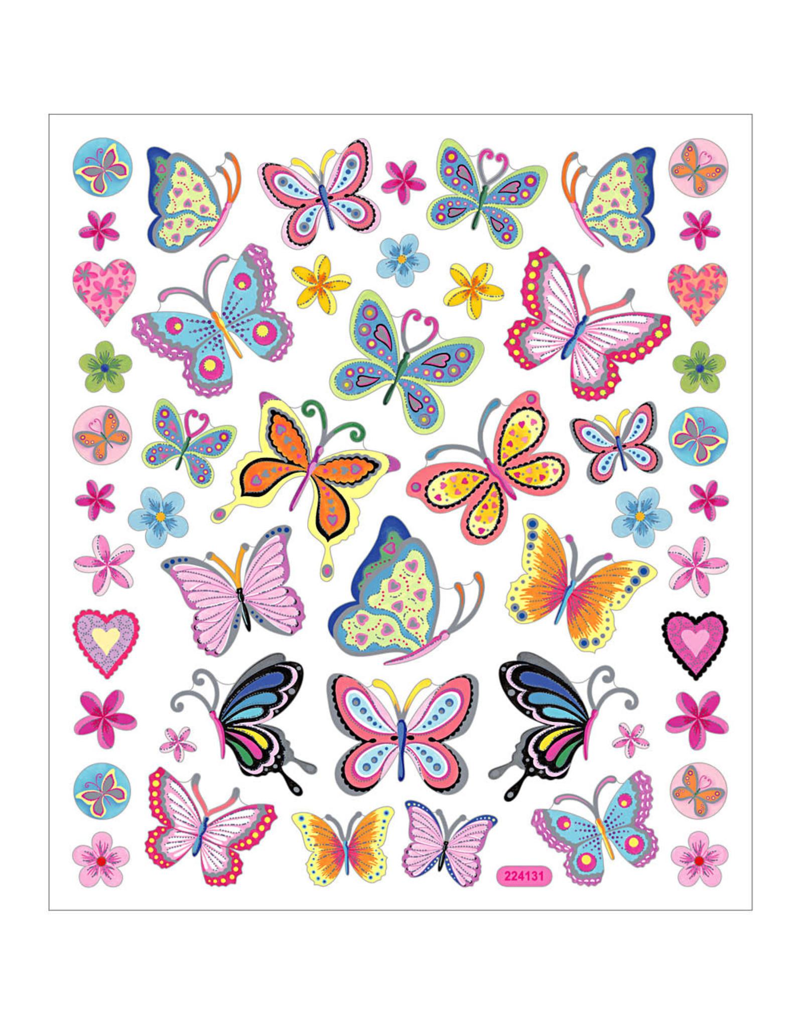 Stickervel zilverfolie vlinder