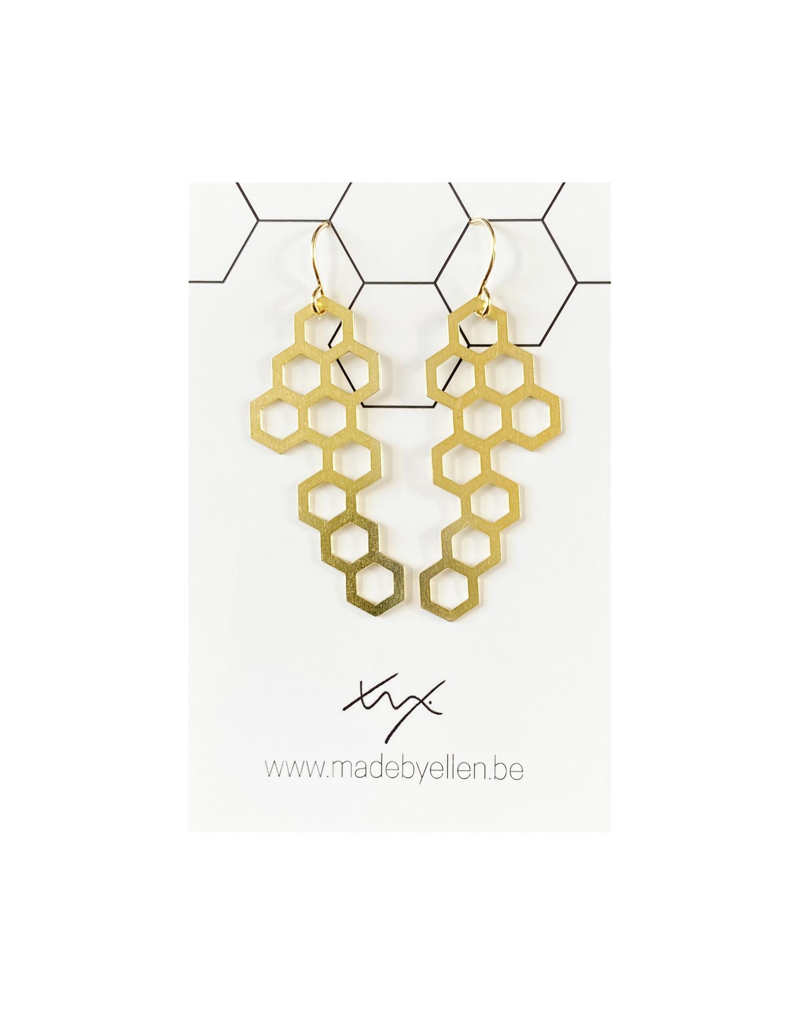 Hangers goudkleurig honingraat groot