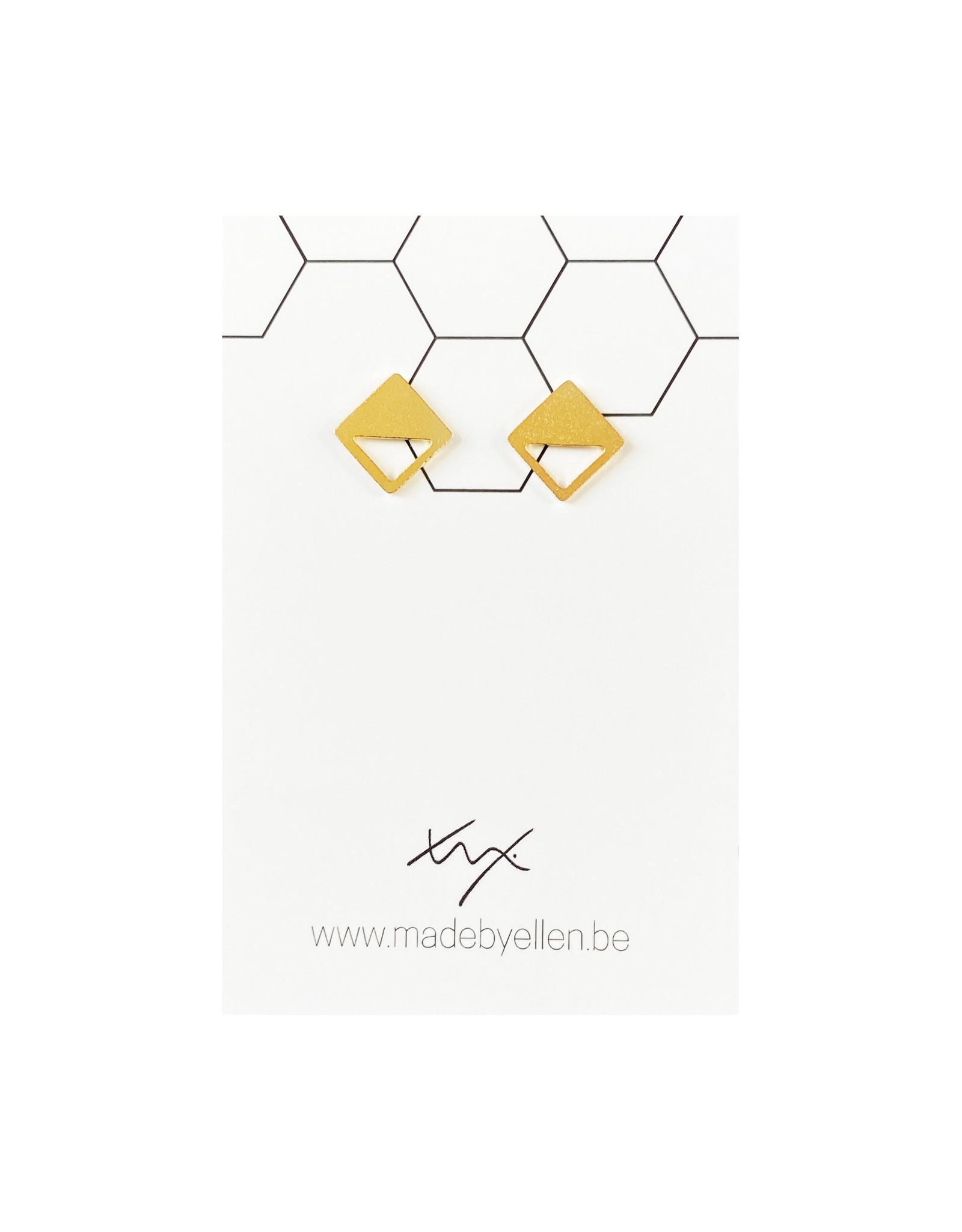 Stekertjes goudkleurig vierkant half