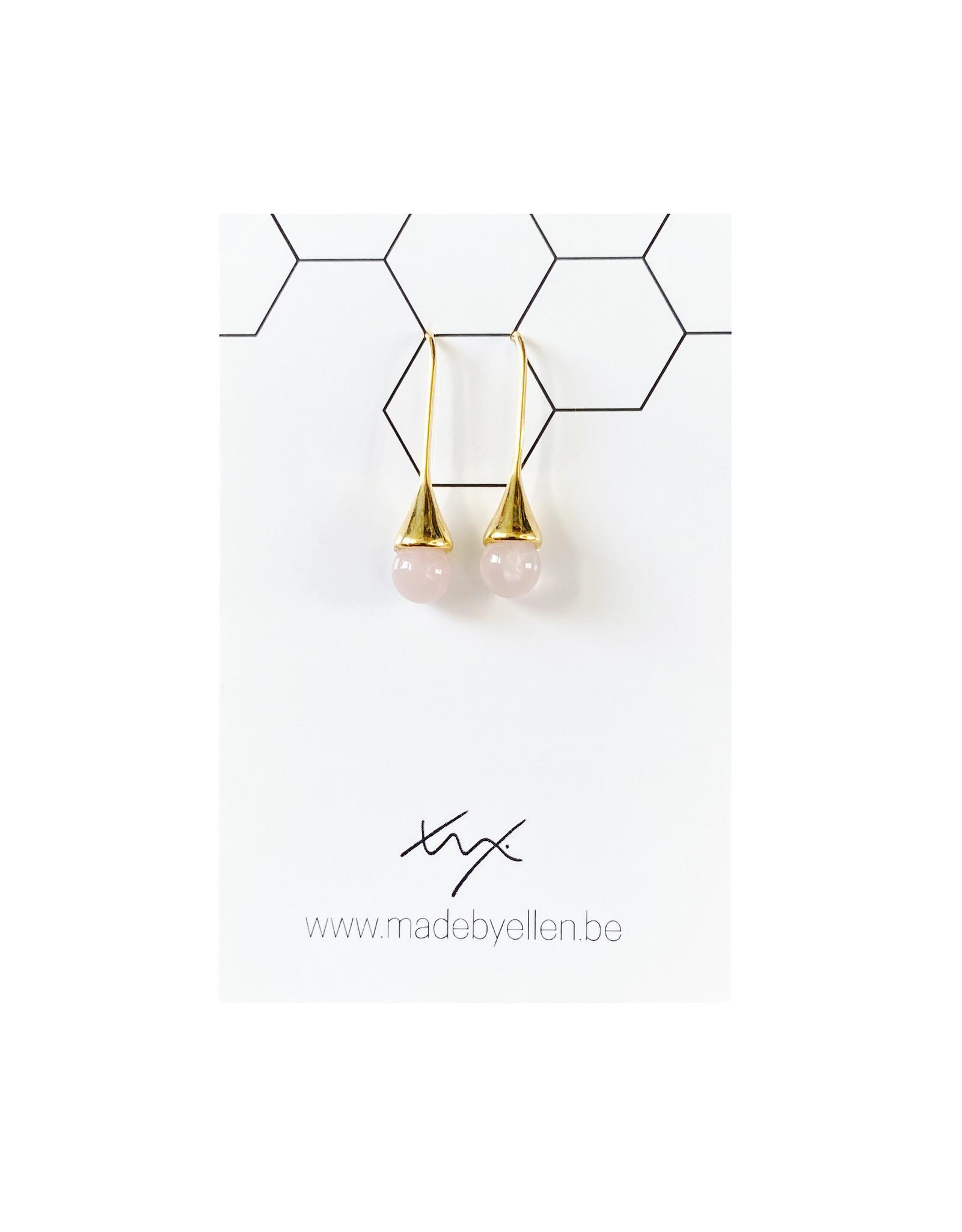 Hangers goudkleurig druppel roze