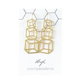 Hangers goudkleurig kubussen