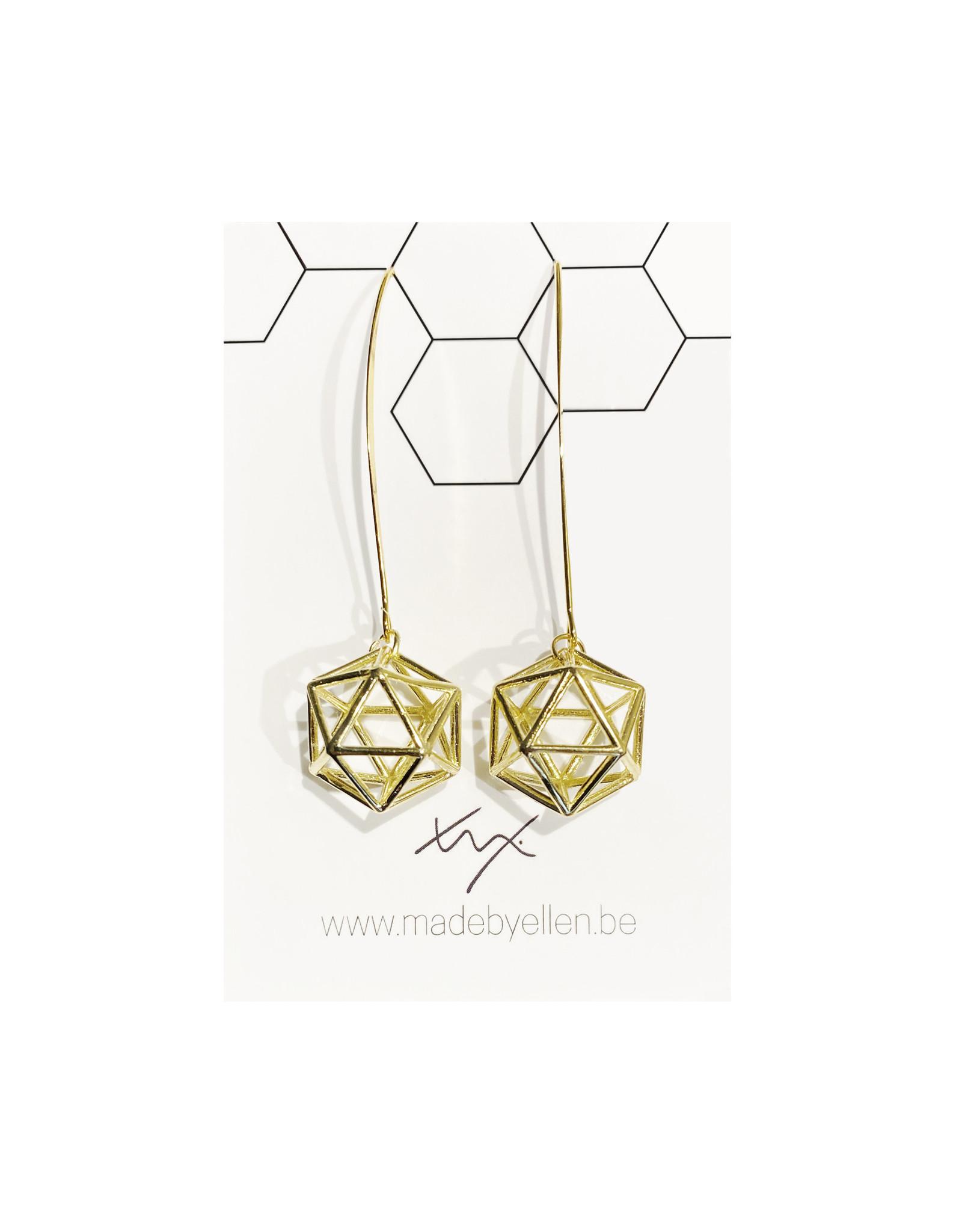 Hangers goudkleurig 3D hexagon