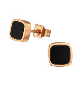 Stekertjes chirurgisch staal vierkant zwart rose goudkleurig