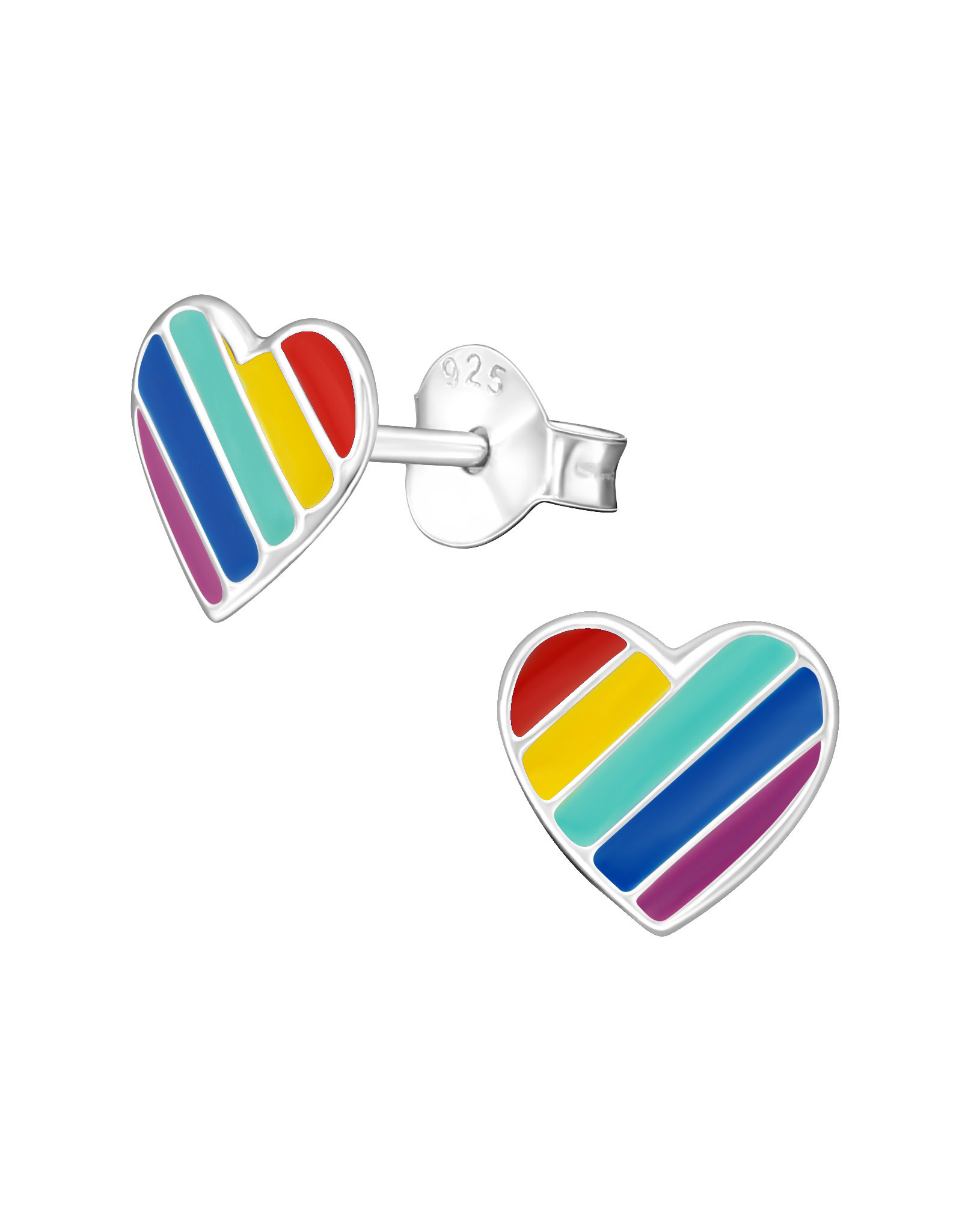 Stekertjes zilver hart regenboog