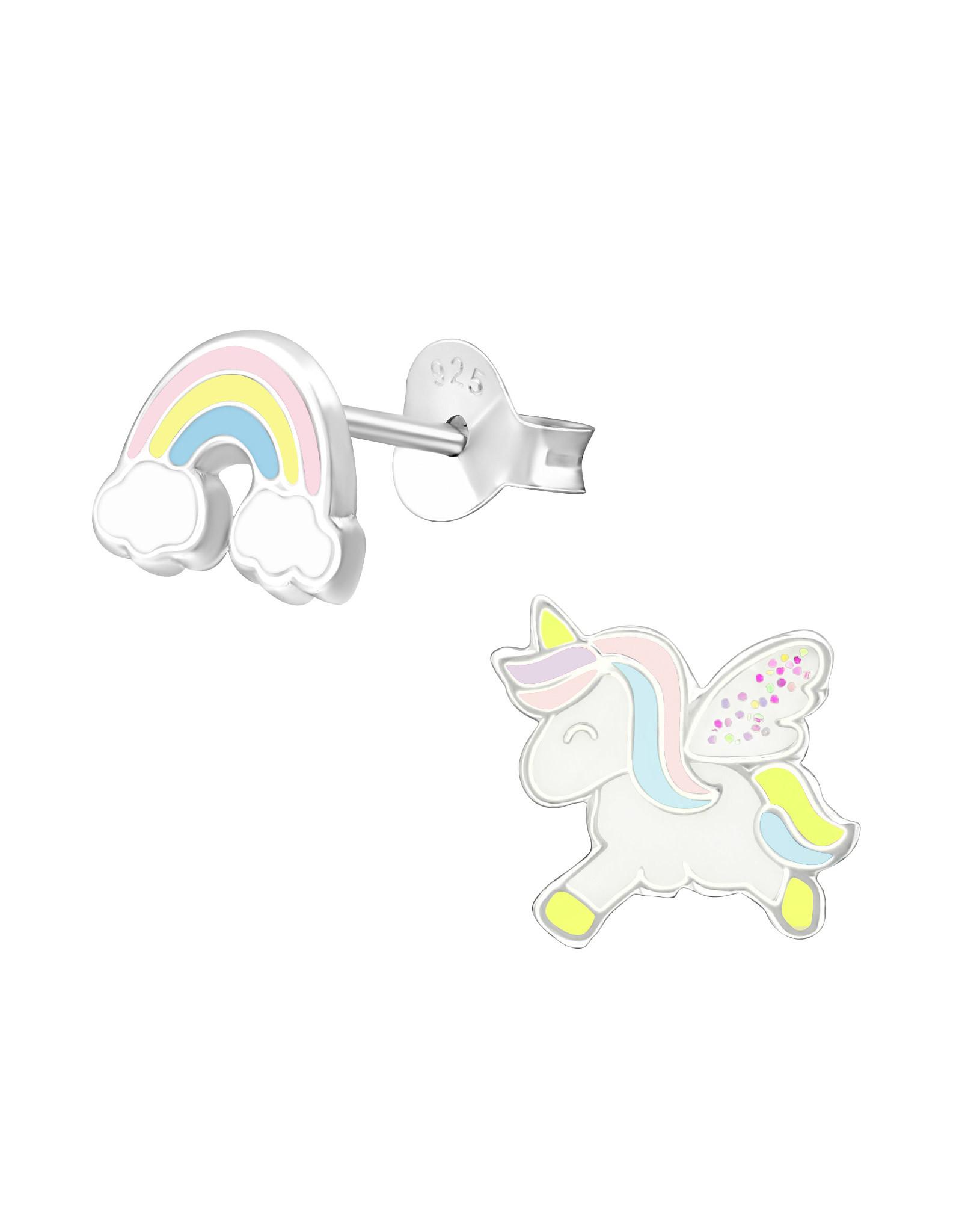 Stekertjes zilver eenhoorn & regenboog pastel