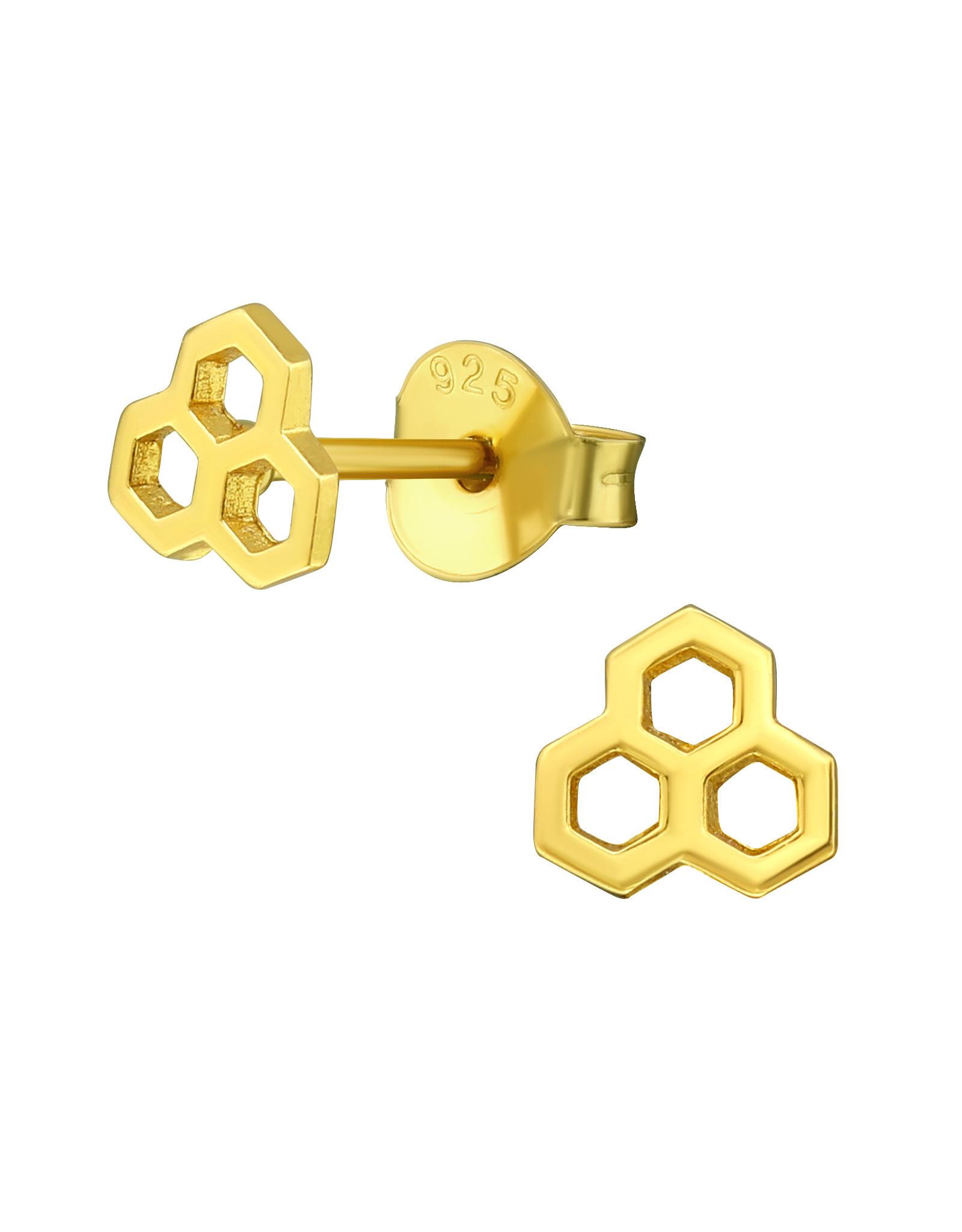 Stekertjes zilver verguld honingraat mini