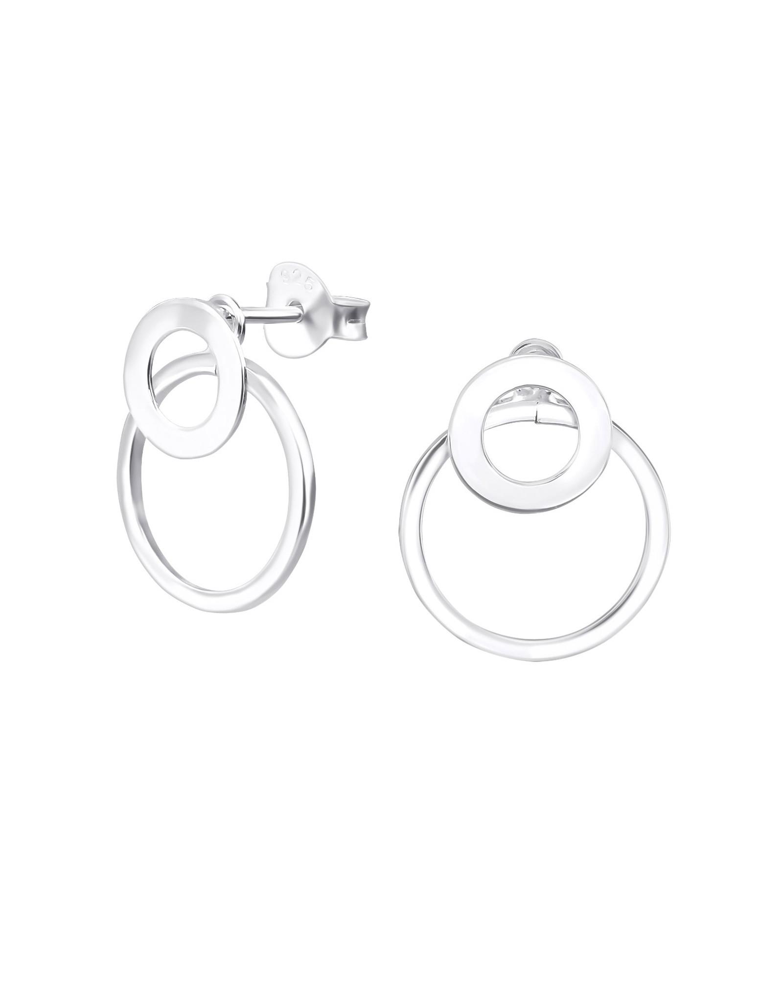 Stekertjes zilver dubbele ring klein