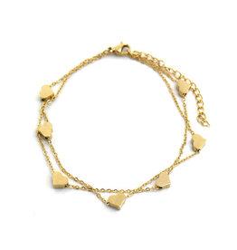 Armbandje RVS hartjes goudkleurig