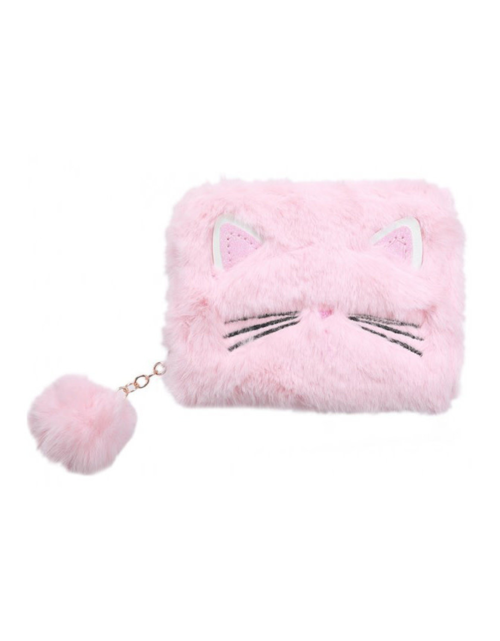 Portemonnee fluffy kat roze