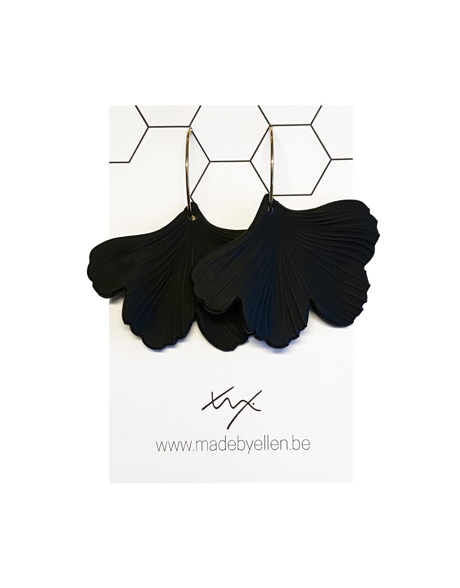 oorbEllen acryl ginkgo zwart