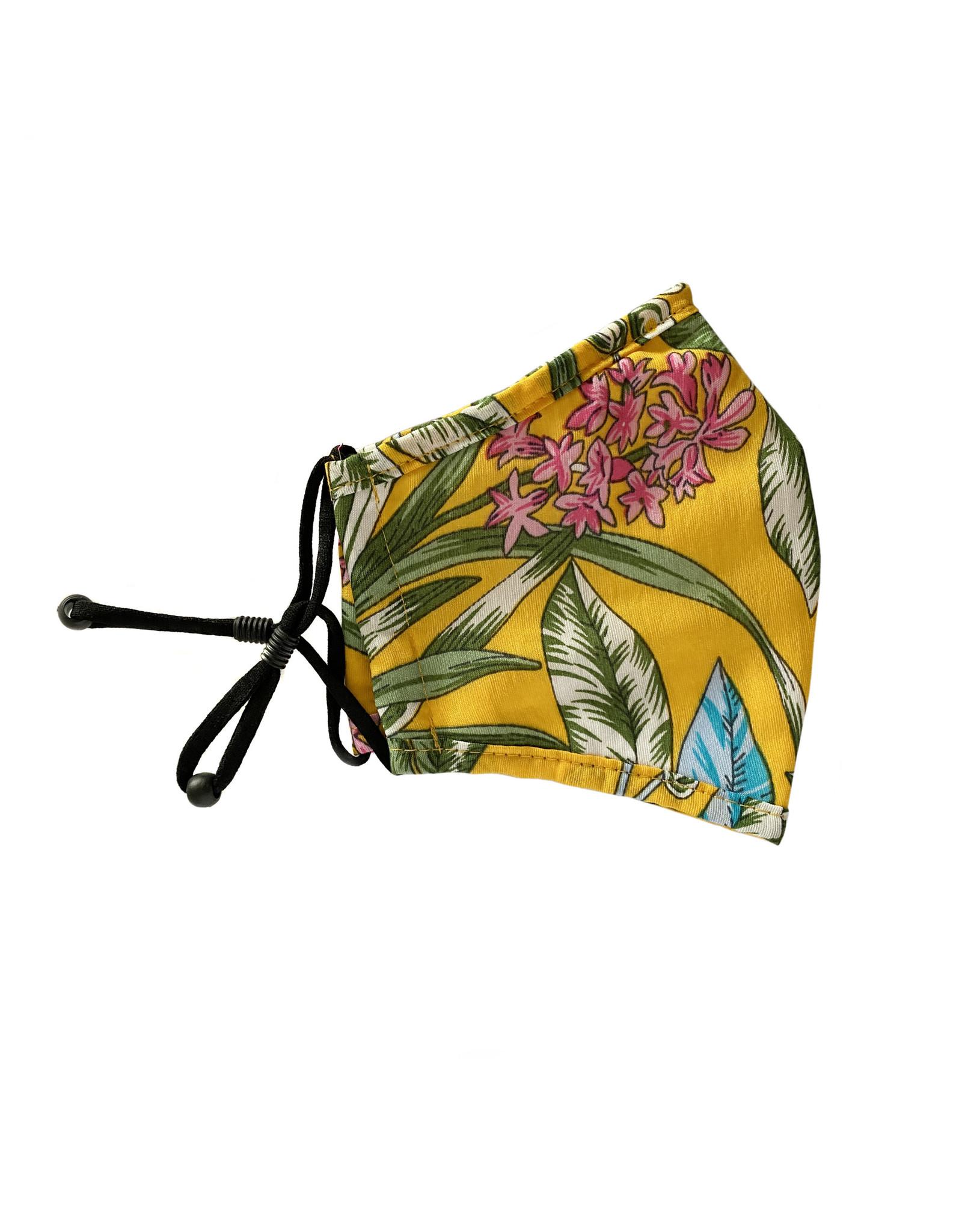 Herbruikbaar mondmasker bloemen geel