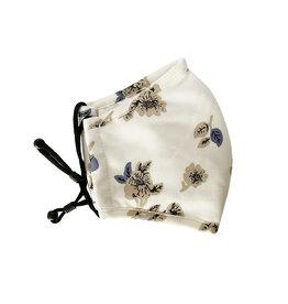Herbruikbaar mondmasker bloemen ecru