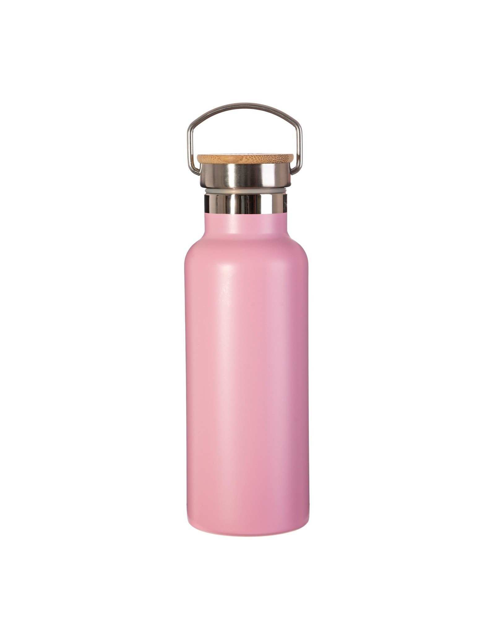 Dubbelwandige RVS drinkfles met bamboe deksel roze