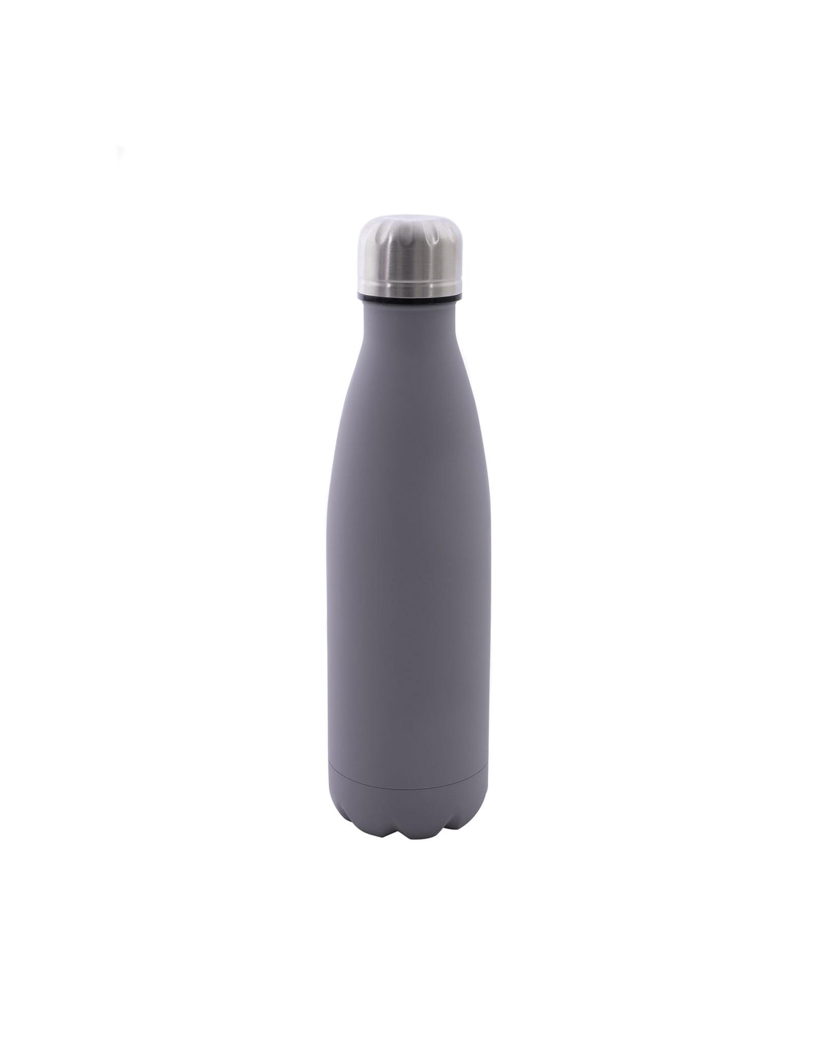 Dubbelwandige fles RVS mat grijs