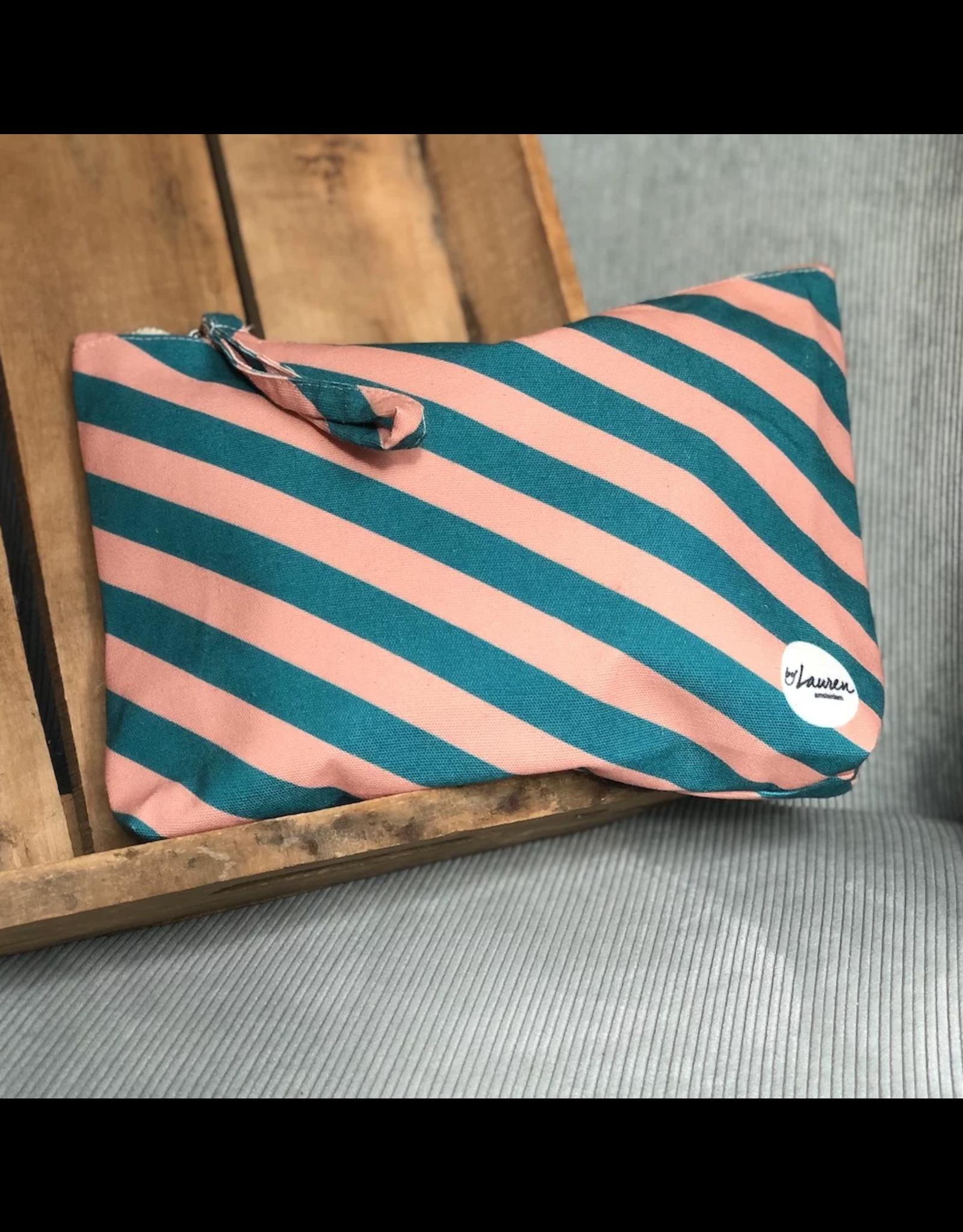 Etui/toiletzak gestreept turquoise/roze klein