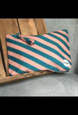 by Lauren: Etui/toiletzak gestreept turquoise/roze