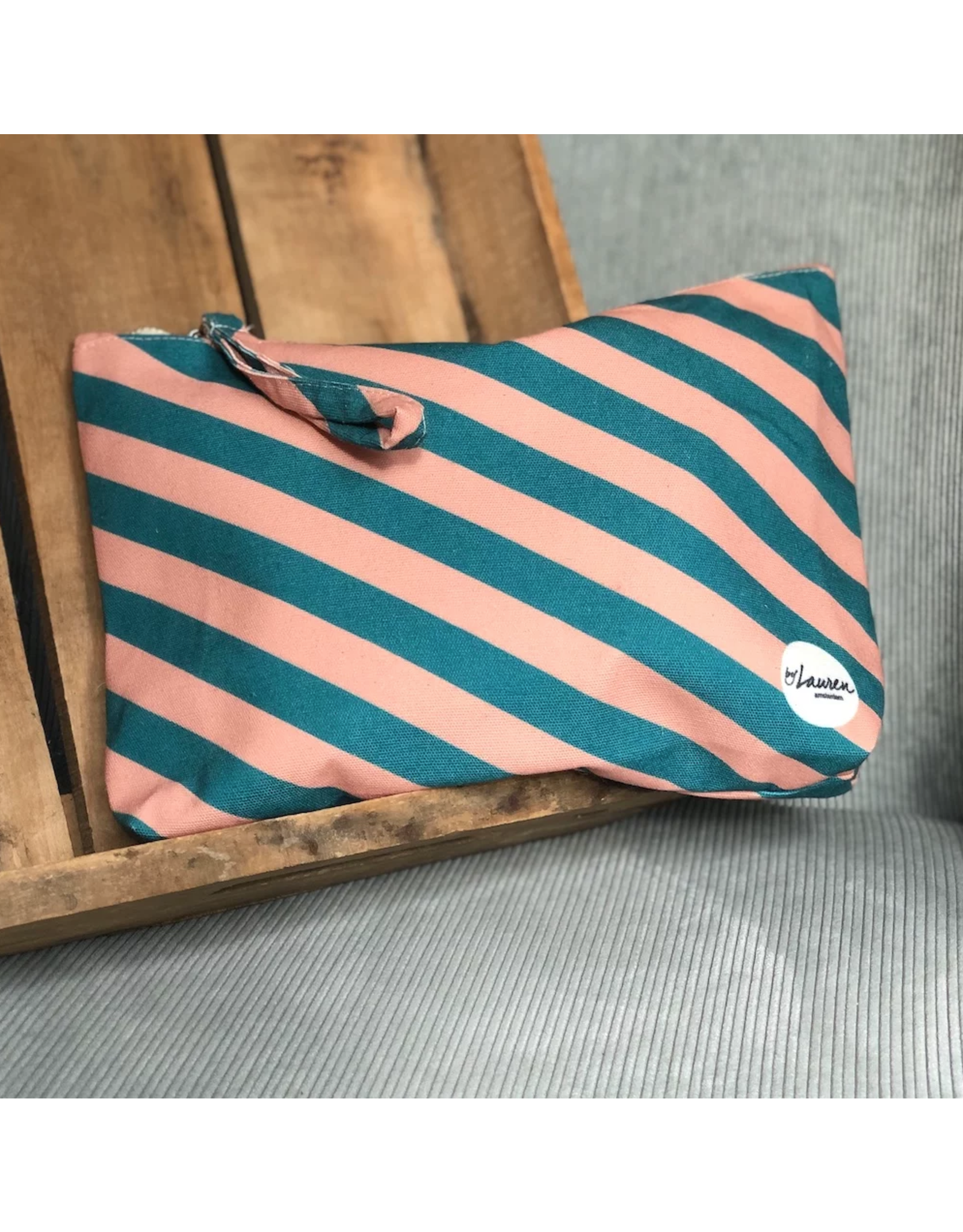Etui/toiletzak gestreept turquoise/roze