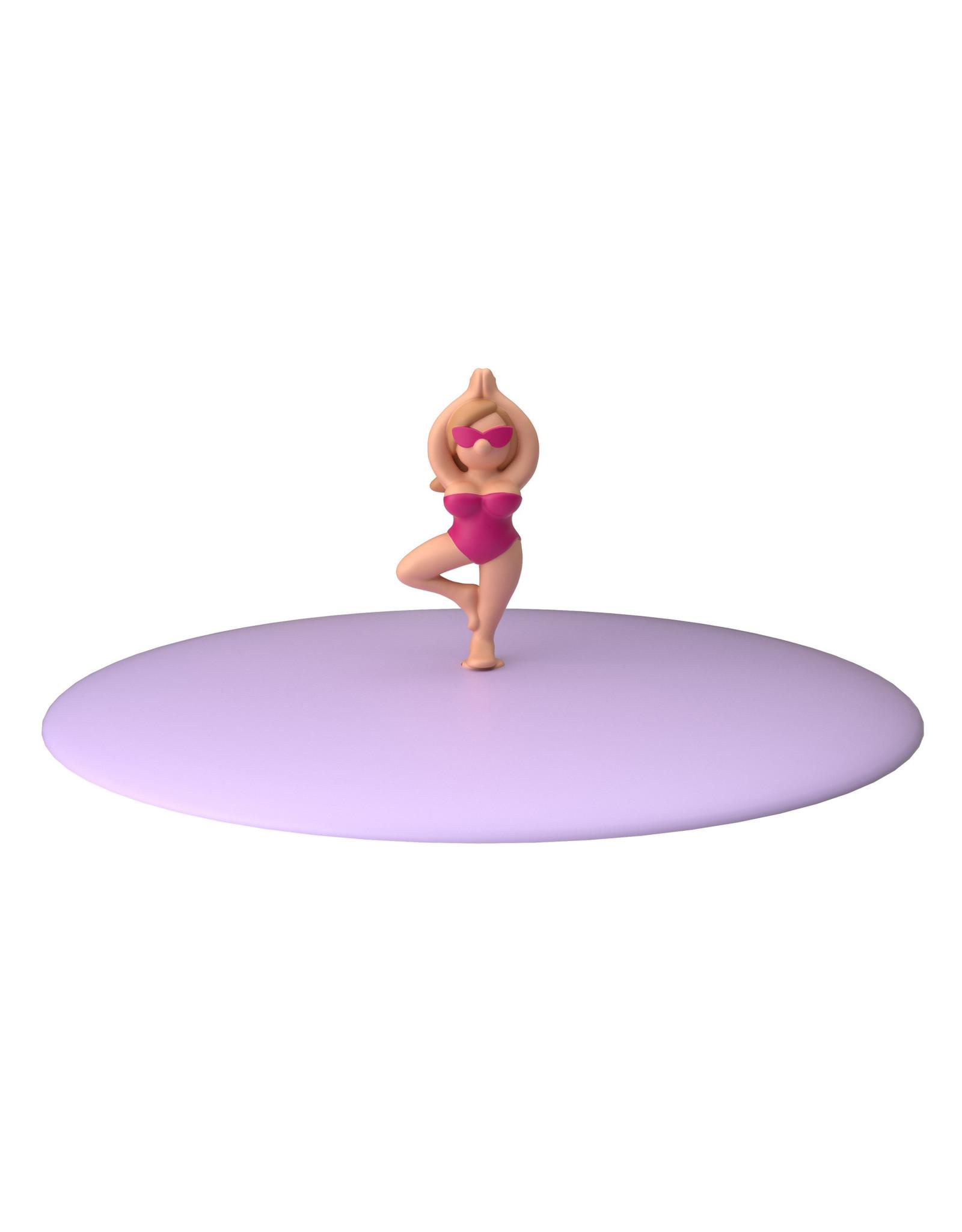 Deksel glas vrouwtje yoga