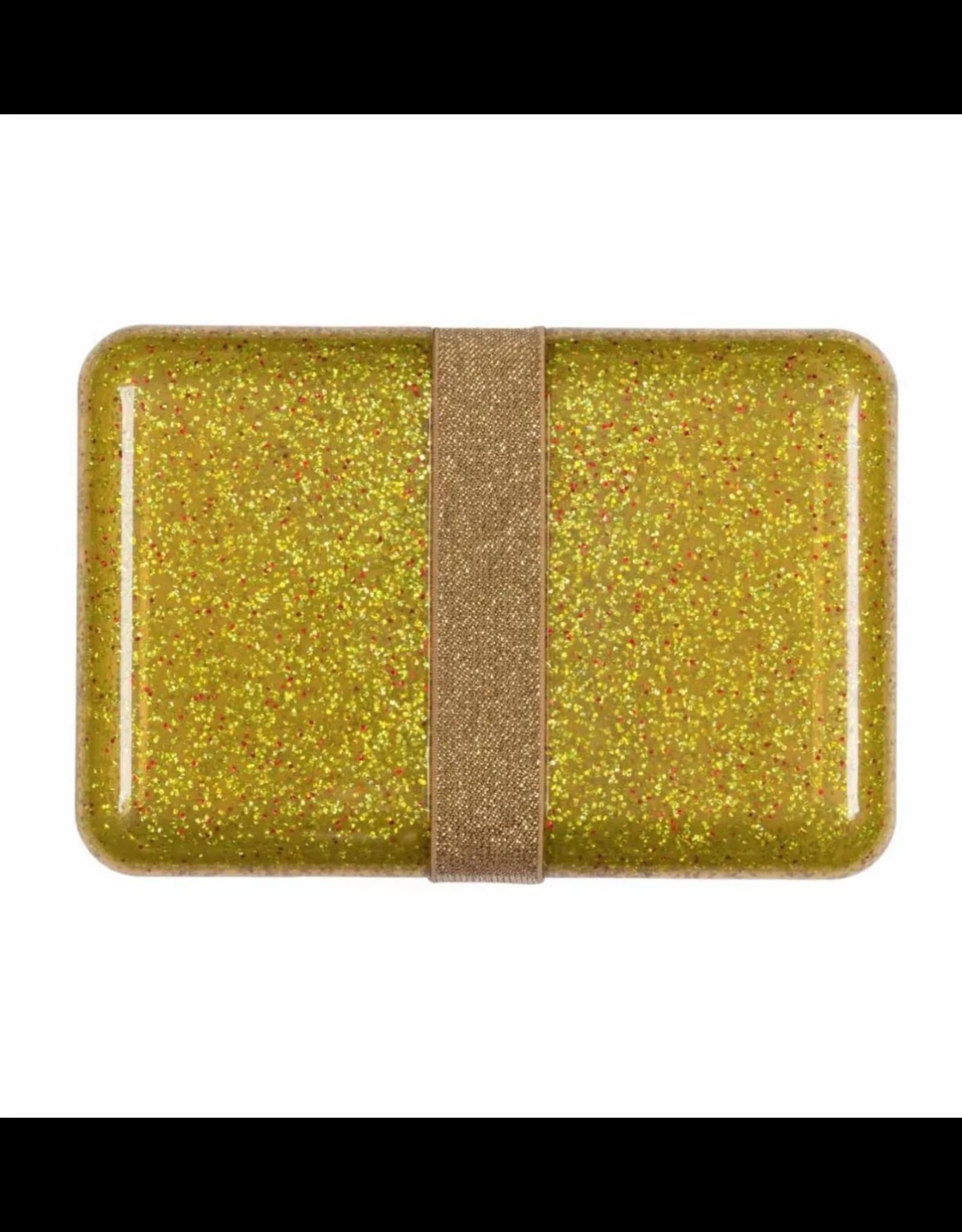 Brooddoos met rekker glitter goud