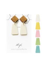 oorbEllen pastel rechthoekig steker hout vierkant