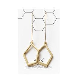 oorbEllen mix&match vijfhoek lange haak goud