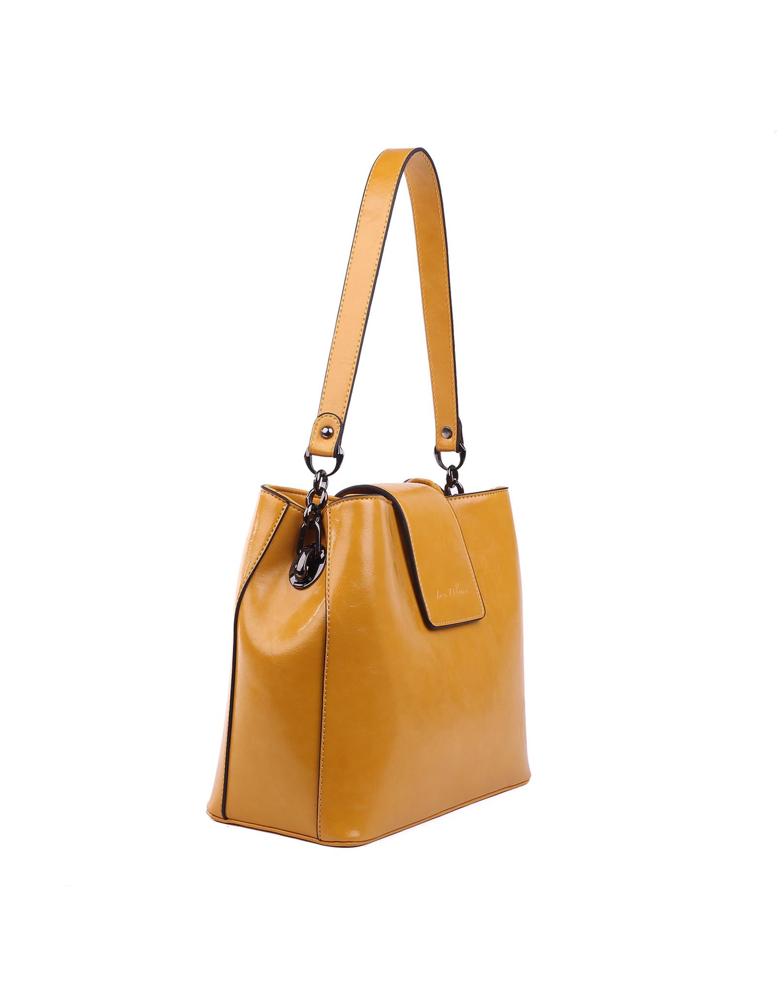 Handtas recht okergeel