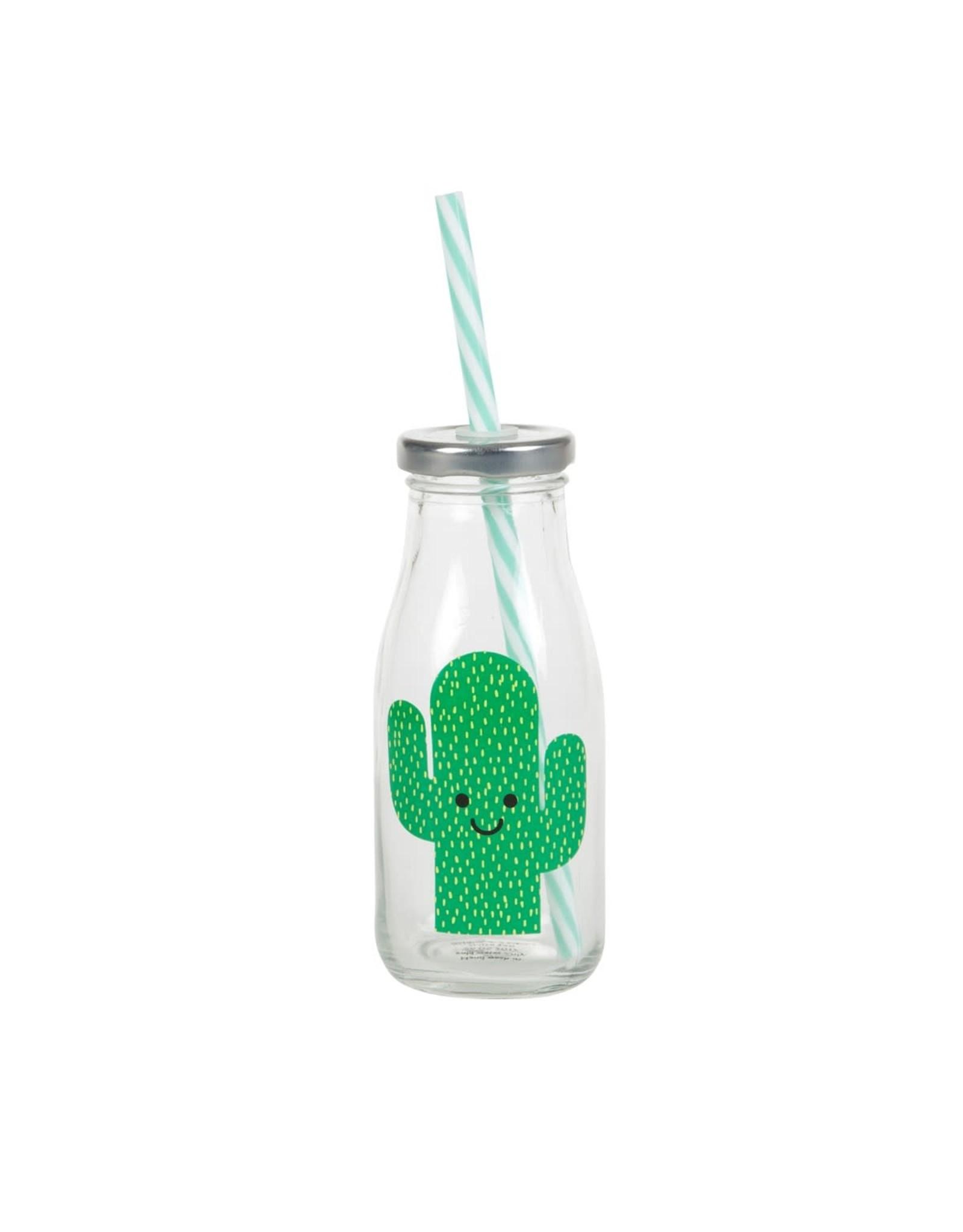 Glazen fles met rietje cactus