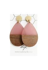 oorbEllen hars&hout druppel Xl roze
