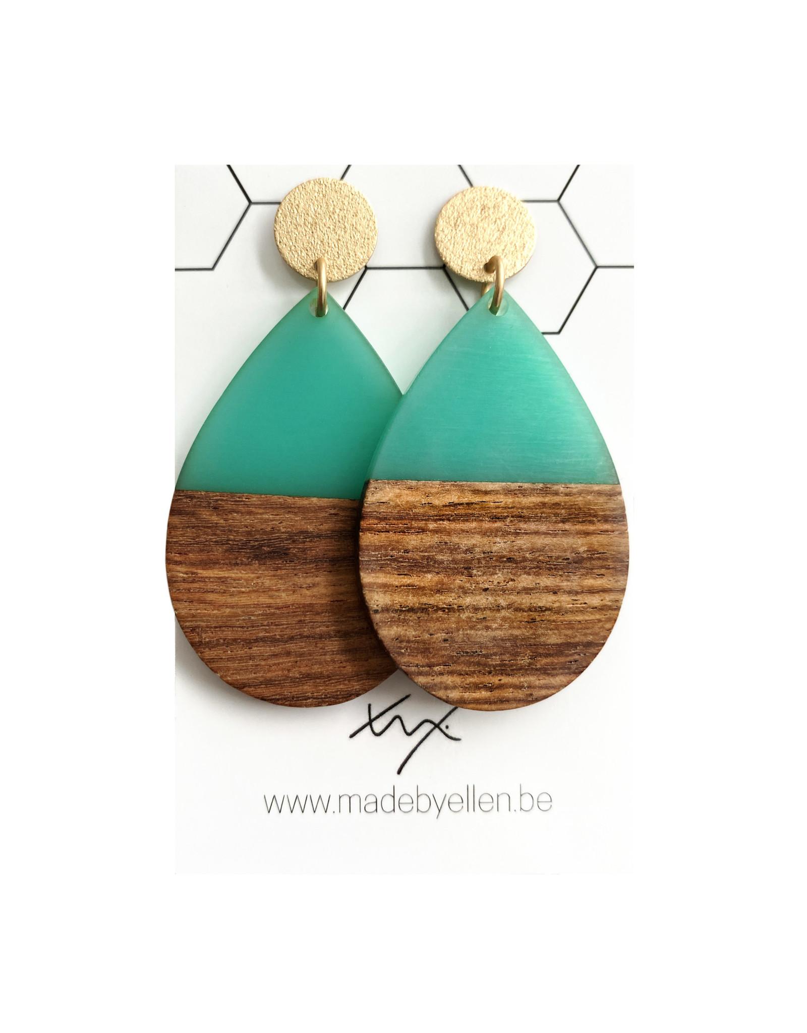 oorbEllen hars&hout druppel Xl turquoise