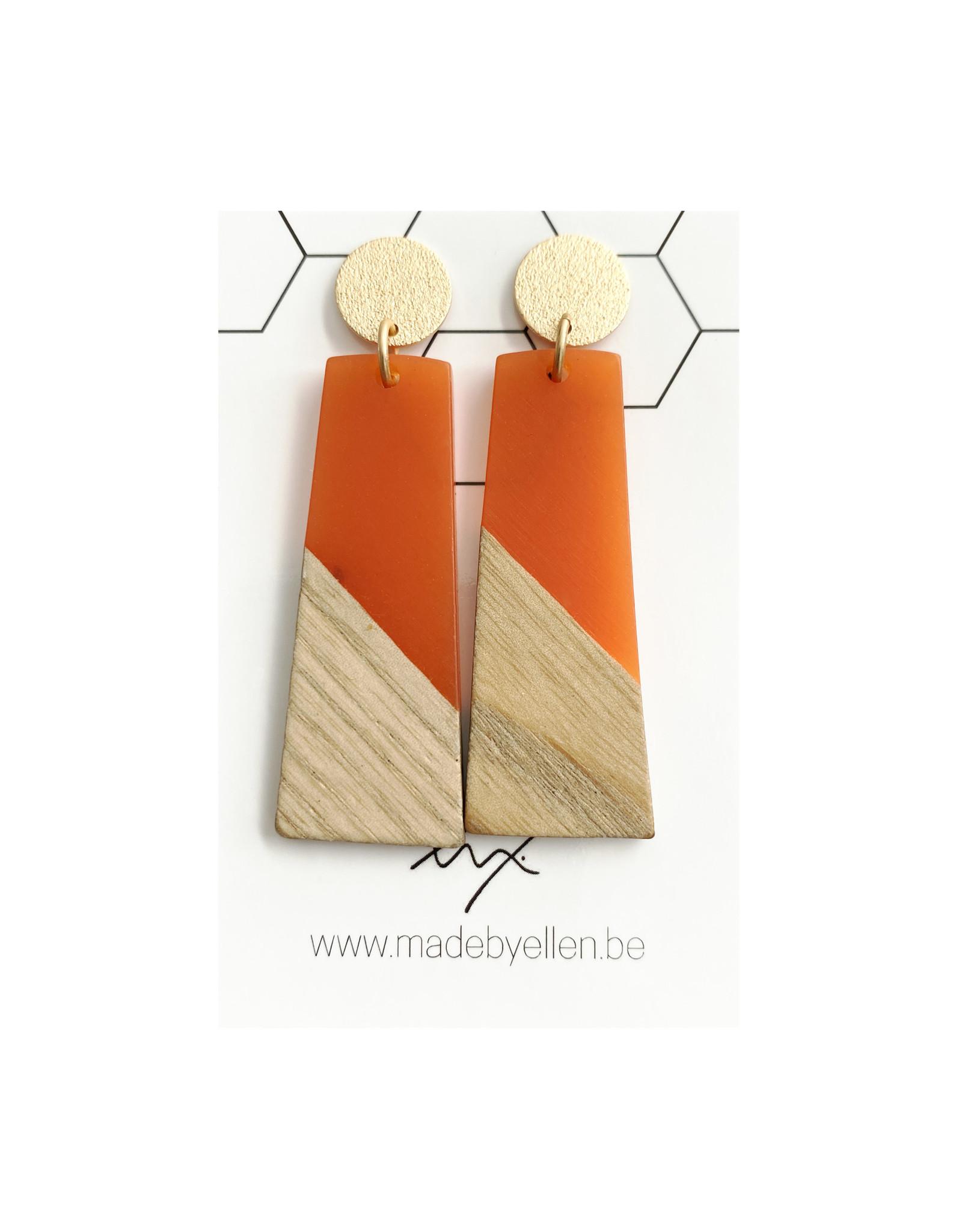 oorbEllen hars&hout trapezium oranje