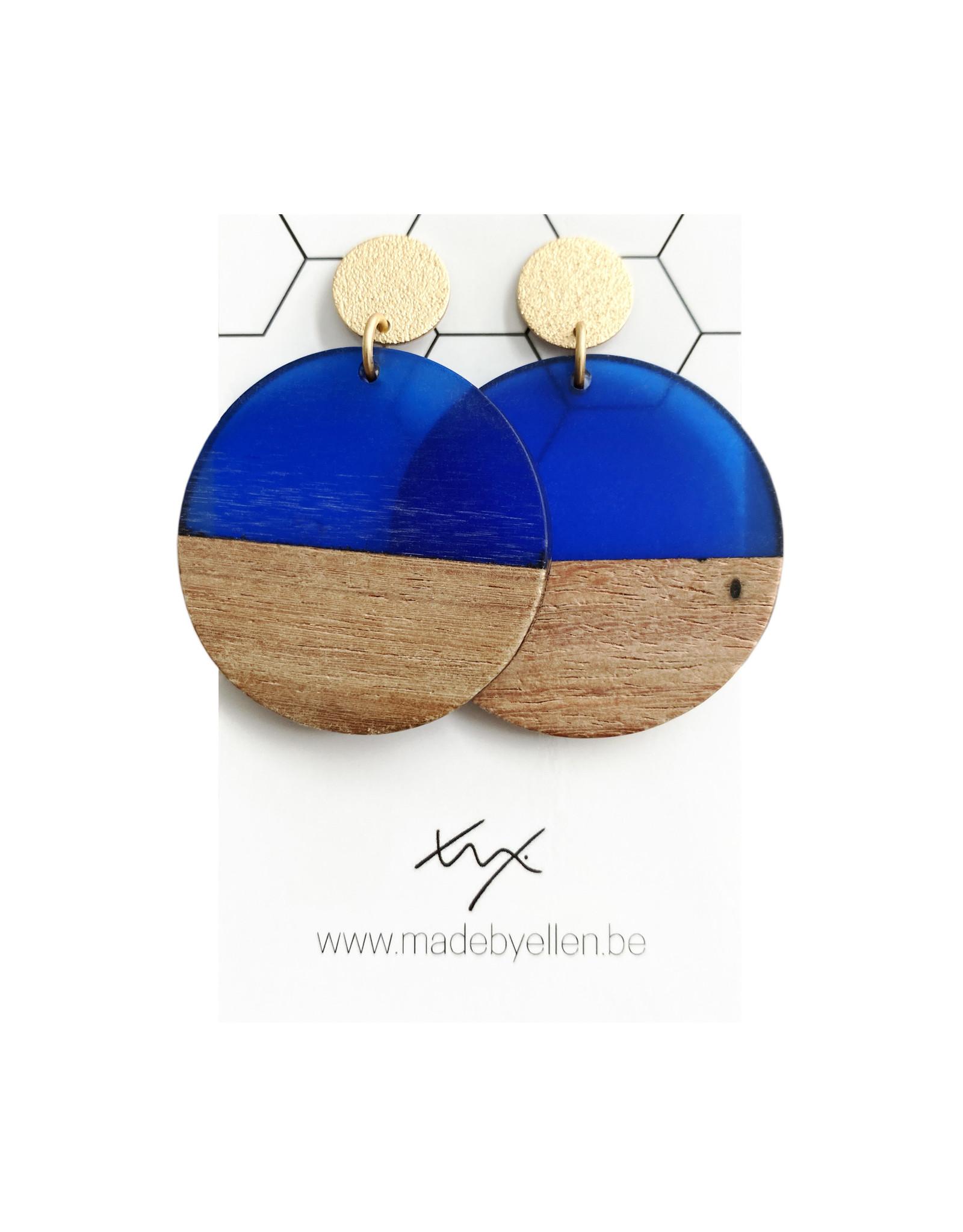 oorbEllen hars&hout cirkel XL kobaltblauw