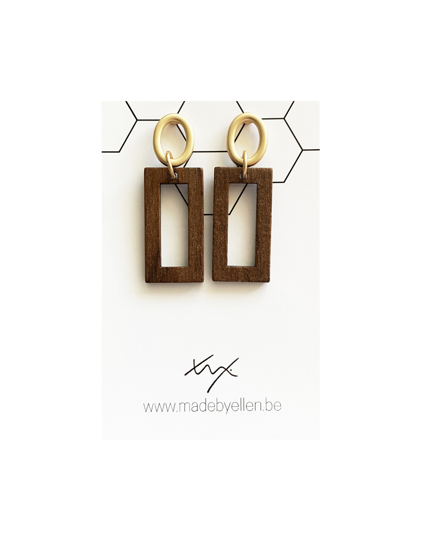 oorbEllen hout rechthoek steker ovaal goud