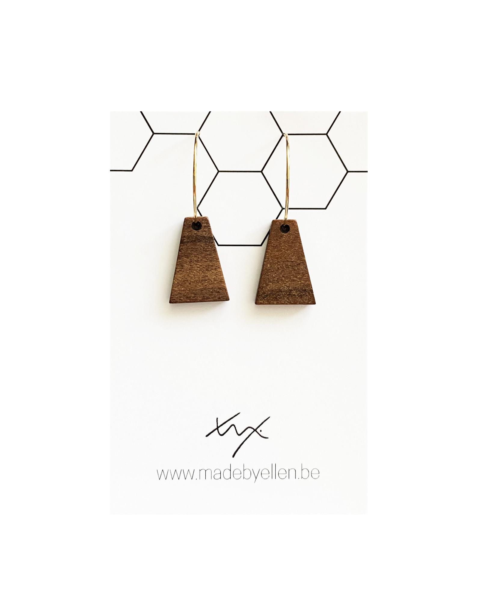 oorbEllen hout triangel creolen